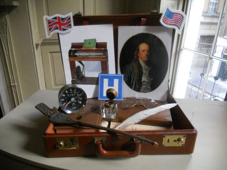 Travel suitcase containing artefacts relating to Benjamin Franklin