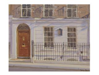 Painting of Benjamin Franklin House exterior and front door