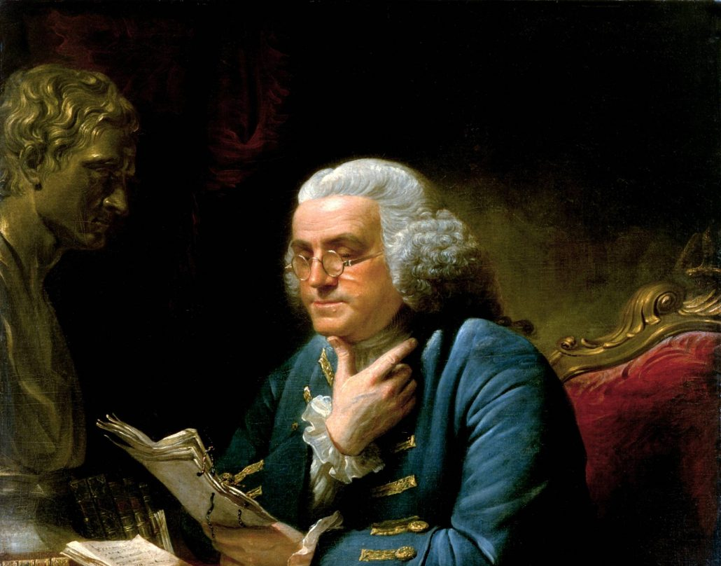 Portrait of Benjamin Franklin by David Martin, reading a paper