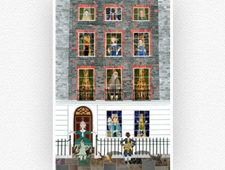 Greeting card of illustrated Benjamin Franklin House