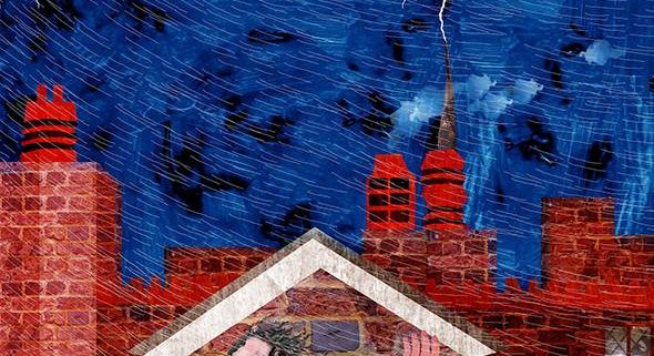 Illustration of Benjamin Franklin in a storm with lightning
