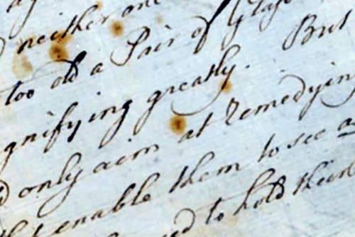 Close up of handwritten letter