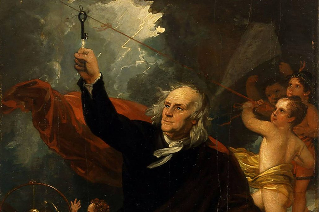 Portrait of Benjamin Franklin conducting the kite and key experiment