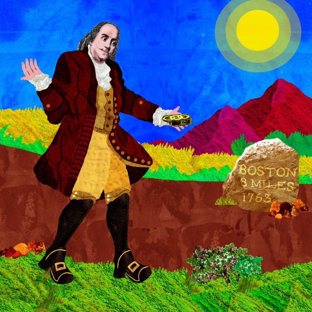 Illustration of Benjamin Franklin outside with sign 'Boston 8 miles'