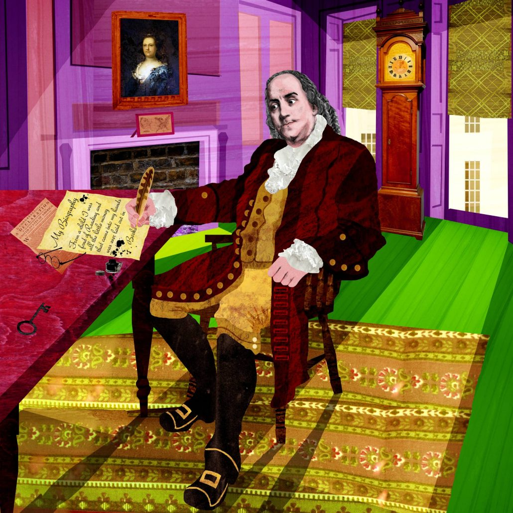Illustration of Benjamin Franklin writing at a desk