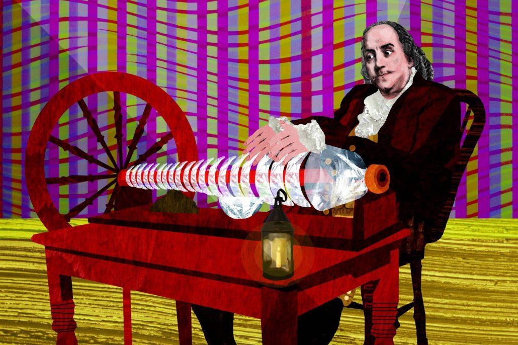 Illustration of Benjamin Franklin playing the armonica