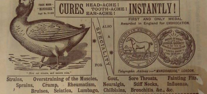 Mandrake Embrocation - historical advert for cures for headache, toothache, and earache