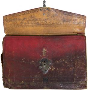 Benjamin Franklin's red Moroccan wallet