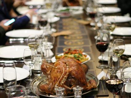Thanksgiving dinner turkey and plates set
