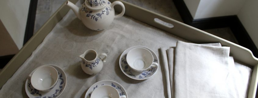 Tea set on tray in the kitchen
