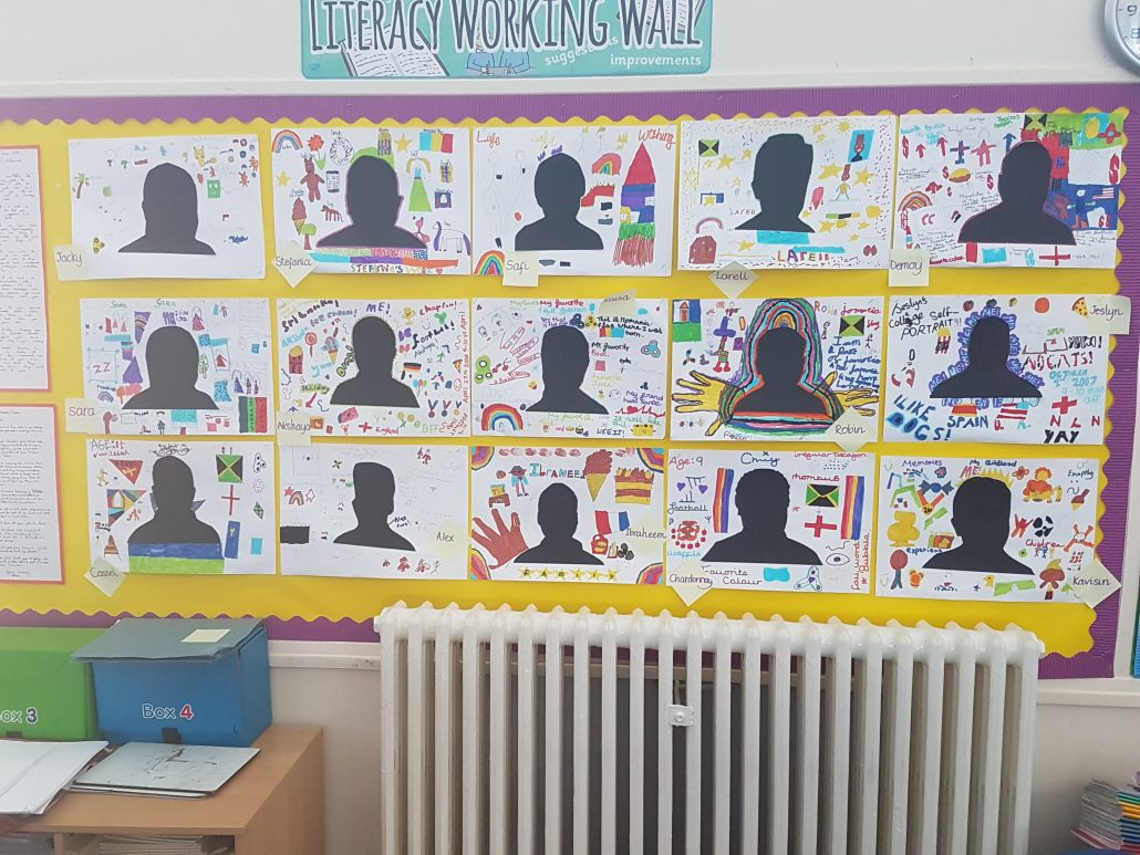 Artworks of portraits on a display board in a primary school