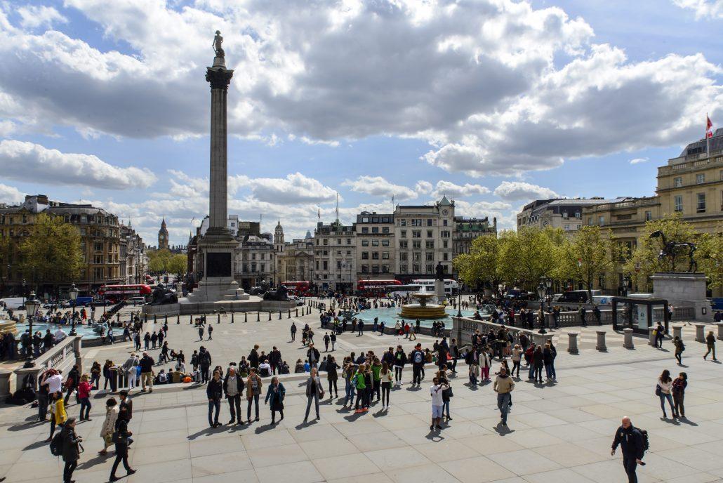 Trafalgar Square in the sun