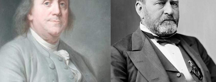Benjamin Franklin portrait beside photo of Ulysses Grant