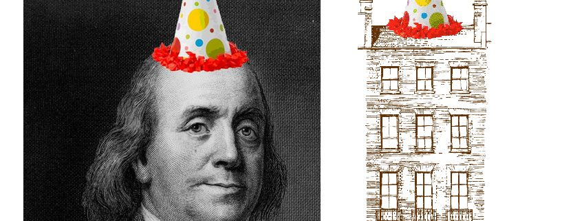 Benjamin Franklin with cartoon party hat on