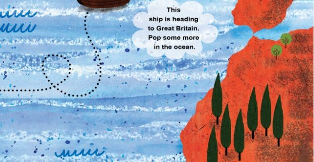 Children's illustration with map of sea with sail ship