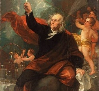 Benjamin Franklin portrait carrying out the kite and key experiment