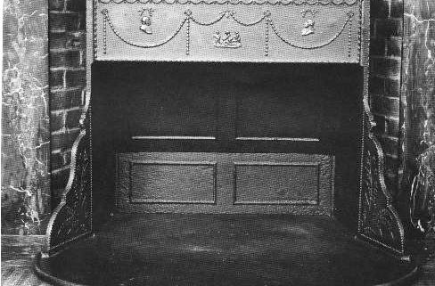 Franklin stove in a fireplace