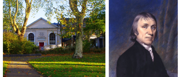 Exterior of Newington Green Meeting House beside painting of man