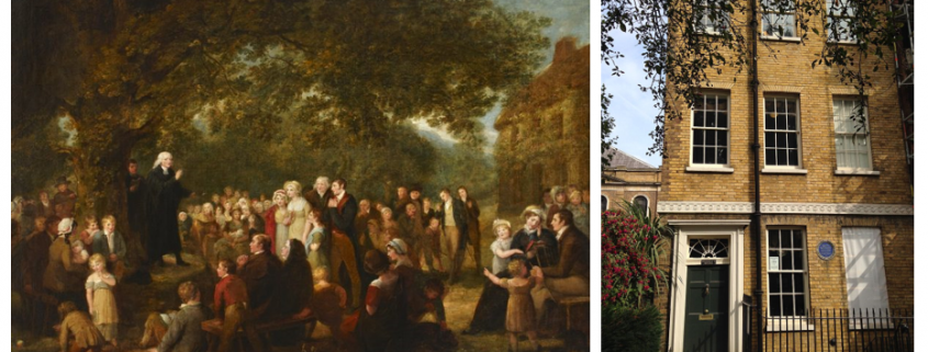 Painting beside exterior of John Wesley's House