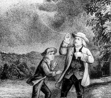 Benjamin Franklin and son William flying a kite