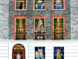 Collaged print of Benjamin Franklin House with people standing in the windows, by Amanda White