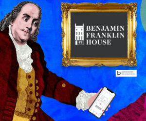 Benjamin Franklin illustration holding a phone open on the Bloomberg Connects app