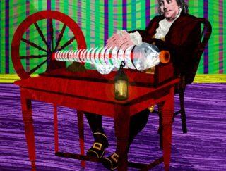 Illustration of Benjamin Franklin playing the armonica.