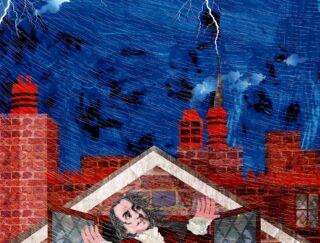 Illustration of Benjamin Franklin and lightning.