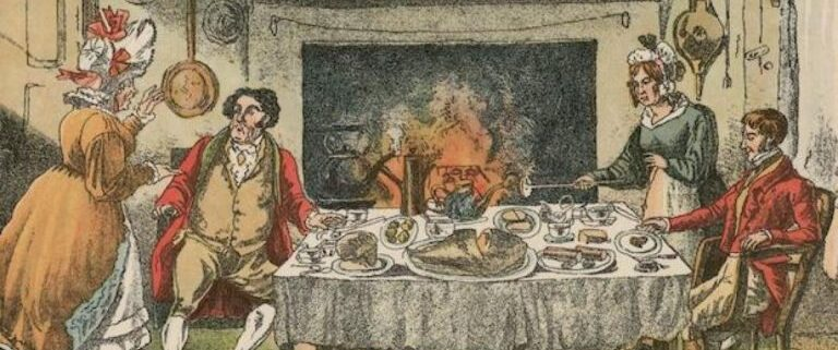 Regency drawing of family eating at a table
