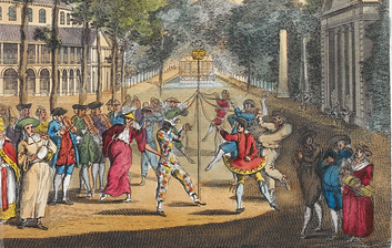 A View of the Rotunda House & Gardens at Ranelagh - people dancing around a maypole