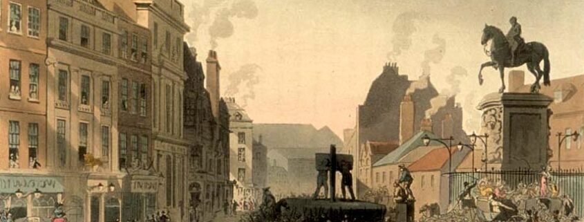 The pillory at Charing Cross - engraving of a crowd watching a public punishment