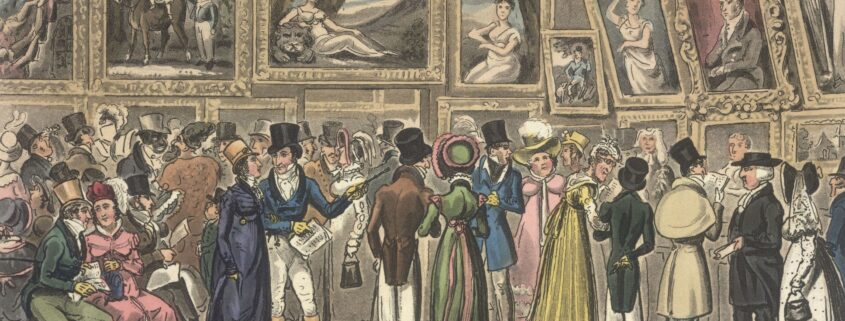 Regency people viewing the Royal Academy art on the walls