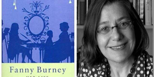 Fanny Burney book cover and Kate Chisholm author photo