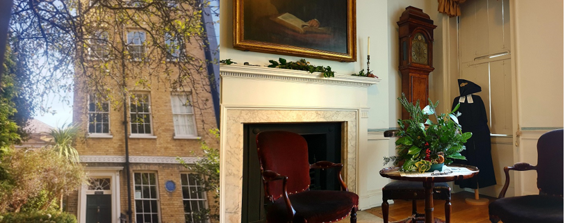 John Wesley's House exterior and interior room, a furnished Georgian room