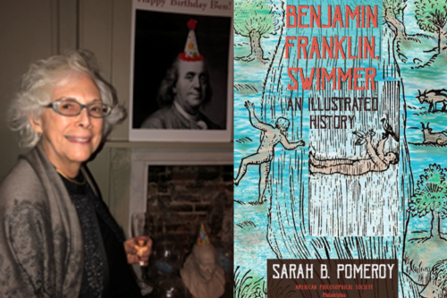 Sarah Pomeroy and book cover of 'Benjamin Franklin, Swimmer'