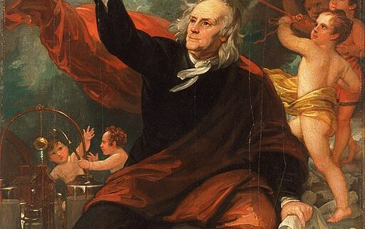 The famous portrait of Benjamin Franklin carrying out the kite and key experiment