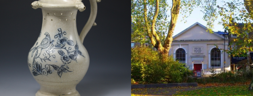 Georgian ceramic vase, white with blue floral design on. Photo of Newington Green Meeting House, a one-storey church building with park at the front