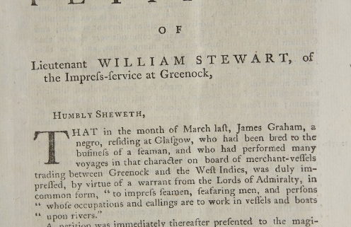 """First page of Stewart v. Graham 1782 """"The Petition of Lieutenant William Stewart, of the Impressive-Service at Greenock"""""""