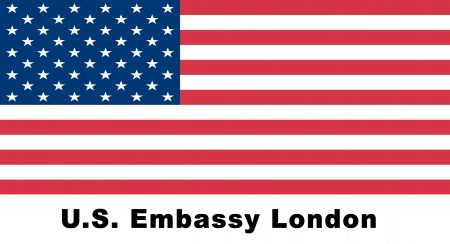 US Embassy London logo with US flag