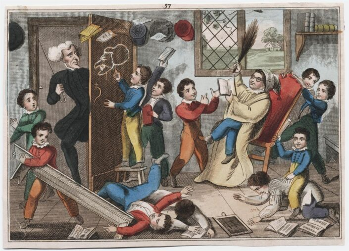 The Schoolmaster's Return (1825, etching) which shows a class of schoolboys misbehaving and the schoolmaster coming through the door.
