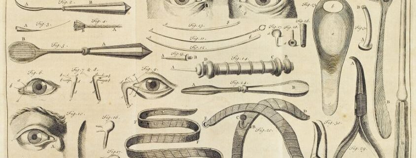 A series of black and white scientific line drawings of parts of the face, eyes and noses, surrounded by various historic medical tools.