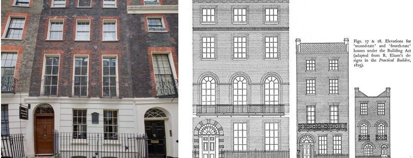 A photograph of Benjamin Franklin House and a drawing of typical Georgian facades.