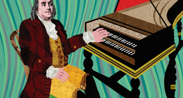 Illustration of Benjamin Franklin playing the harpsicord. Franklin wears gold breeches and waistcoat and red overcoat, with lots of buttons and braiding. It is very colourful and the background is a psychedelic pattern of green and purple stripes.