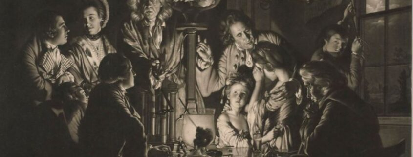 A black and white mezzotint of a philosopher showing an experience on an air pump. The people watching are huddled around the pump in awe of the experiment.