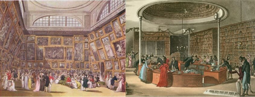 Paintings of an exhibition at the Royal Academy and a book shop in the 18th century. In the first painting, a crowd of Georgian people look at the paintings, filling every inch of the high walls. In the second painting, people talk to each other and look at books on the shelves, so high there are ladders leaning against the stacks.