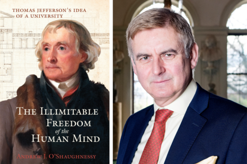 Book cover of 'The Illimitable Freedom of the Human Mind' featuring portrait of Thomas Jefferson, beside author headshot of Andrew O'Shaugnessy