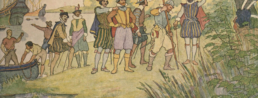 Members of the Virginia Company landing on the shores of Virginia to establish the Jamestown Colony. British men disembark from a boat and place a flag on American soil, watched by a native American in the foreground.