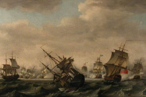British and French battleships at war at sea during the 7 Years' War. In this view from astern of the action, looking towards the French coast, the ship sinking in the centre is the French Thesee, with Augustus Keppel's Torbay to the right. Between them in the distance de Conflans' Soleil Royal is engaged with Hawke's 'Royal George', right, flying his blue command flag at the mainmast. Another French ship, the Superbe is sinking in the left distance, largely swamped (as was the Thesee) by water coming through her lower gunports.